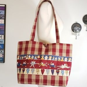 Vintage Christmas gingham patchwork shoulder bag
